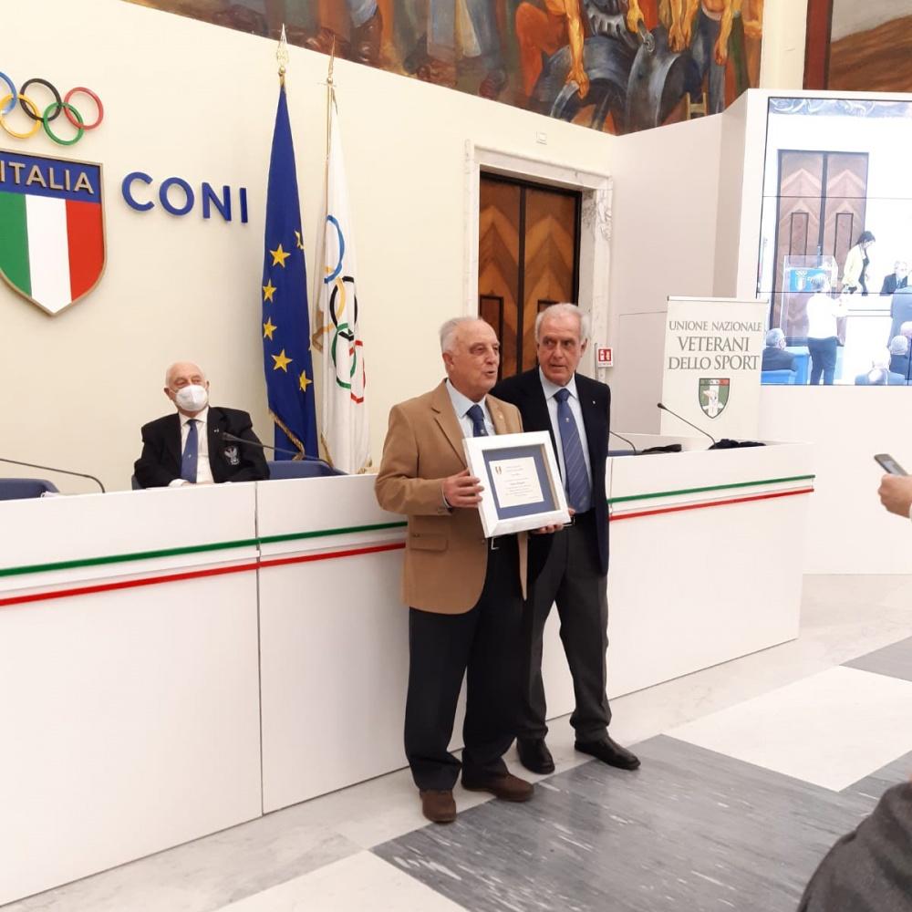 Ettore Biagini (a sinistra) e Alberto Scotti nel Salone d'onore del CONI - 13 Marzo 2021, Roma